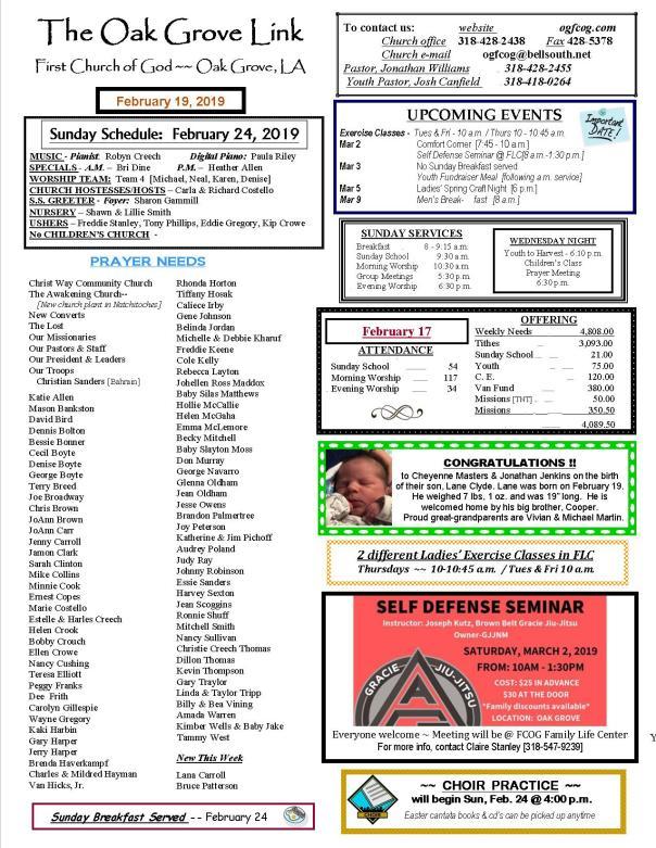 weekly update 1 pg 2-19-19 N-LETTER